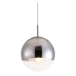 Kinetic Pendant Light - The Kinetic pendant light is the perfect combination of  half chrome and half glass. This pendant light  is fully adjustable for that perfect height. The pendant is UL approved.