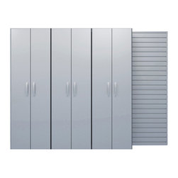 Flow Wall Systems - Flow Wall Tall Cabinets (Set of 3) - Once installed,these combined modular panels can turn any wall into an adaptable organization system. The beauty of the Flow Wall system is that you can add storage accessories to your wall for a truly customized system.