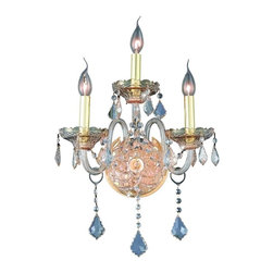 Elegant - Verona Golden Shadow Royal Cut Wall Sconce - Inspired by the elegant English chandeliers of the Eighteenth century, the allure of our Verona Collection captures the look of pure luxury. Cut-crystal center columns and bobeches accent the drape.