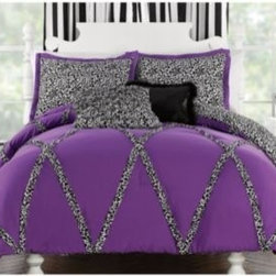 Pem America, Inc. - Wild Cheetah Comforter and Sham Set - The Wild Cheetah comforter set is perfect for the wild at heart. The bold purple ground is accented with a ruffled cheetah print that will add a little bit of fun to any room.