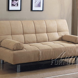 ACME Furniture - Contemporary Beige Microfiber Adjustable Futon Sofa Bed Sleeper - Cybil Collection Sofa Sleeper