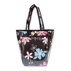 """Trend Lab - Diaper Bag - Blossoms Mini Tote - Trend Lab's Mini Tulip Tote is the perfect on-the-go accessory for quick outings where a large diaper bag is unnecessary. It's perfect for short shopping trips and can hold a bottle, diapers, wipes and other small necessities! Or use this wonderful bag as a toy bag, beach bag, lunch tote, or cosmetic bag. This Mini Tulip Tote allows you to conveniently pack the essentials and go!. Blossoms Mini Tulip Tote features a lovely floral print in bubblegum pink, lagoon blue, sage green and canary yellow on a chocolate base with a variegated stripe print trim and lining. Bag features a laminated exterior for easy clean up and durability, a snap closure and one exterior pocket. Bag measures 7"""" x 9 1/2 """" x 4"""" and features two handles measuring 16 1/2 """" in length."""