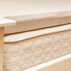 "Savvy Rest Vitality Natural Latex Mattress Topper - Mattress too firm and don't want to buy a new one? Add a layer of Medium Talalay Latex! This 3"" topper adds additional support and comfort to your bed. The Vitality topper is a single sheet of natural latex covered with an organic cotton knit cover that adds a layer of supportive softness. Call Moss Envy at (612) 374-4581 for assistance in choosing your topper."