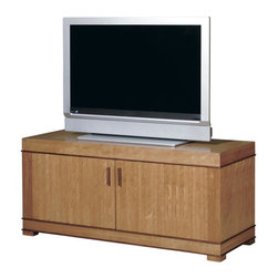 Hekman Furniture - Asher Benjamin Plasma Console - Two tambour sliding doors. Two adjustable shelves and one pull-out media tray behind each door. Power bar with cable. Infrared repeater device allows remote control of electronic devices behind closed doors. Warranty: One year. Made from select solids, flat-cut cherry veneer and walnut bead. Asher benjamin finish. 54 in. W x 20 in. D x 24 in. H