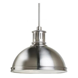 Sea Gull Lighting Pratt Street Metal Fluorescent 3-Light Pendant - 16W in. Brush - Be careful not to stub your toe, as we expect that you'll spend a lot of time looking up after you install the Sea Gull Lighting Pratt Street Metal Fluorescent 3-Light Pendant - 16W in. Brushed Nickel. This stunning, wide-bodied fixture sports a definitely industrial style on a wide shade and slim metal down tube. A classic finish of brushed nickel covers the entire fixture while a trio of 13-watt GU24 bulbs shine a warm light through a diffuser of clear glass. This ENERGY STAR-rated fixture also includes multiple down tube lengths so you can install it at the height that works best for you.