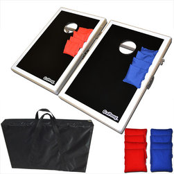 GoPong - CornHole Bean Bag Toss Game Set - Features: -Cornhole bean bag toss set.-Made of lightweight but sturdy MDF material for maximum durability and portability.-Can take them anywhere.-Each board has two legs that fold out to play game or under board (for storage).-Built in carrying handles for super easy transportation.-Classic design allows for easy customization.-Retail packaged - makes a great gift.-Set includes: Two game boards and eight official bean bags with four red and four blue.-Distressed: No.Dimensions: -Overall Product Weight: 18 lbs.