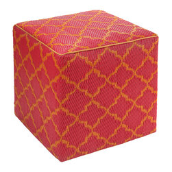 Fab Habitat - Tangier Pouf, Orange Peel & Rouge Red - Scatter these handy cubes indoors or out as extra seats or side tables. They're handmade from recycled polypropylene and filled with polystyrene, for long-lasting comfort and color retention. The stylized Moroccan design adds an exotic touch to the pool, patio or playroom, and the cubes stack for easy storage.