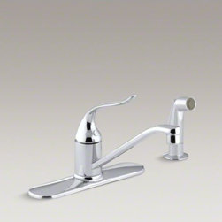 "KOHLER - KOHLER Coralais(R) three-hole kitchen sink faucet with 8-1/2"" spout, matching fi - Add style and functionality to everyday tasks with the durable Coralais kitchen sink faucet. The swing spout and matching sidespray make it easy to wash pots and pans, while a single lever handle and one-piece ceramic valve offer precise water temperature and volume control."