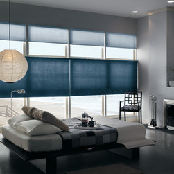 """Bali Diamond Cell 3/8"""" Double Cell Storm Cellular shades - Bali Diamond Cell 3/8"""" Double Cell Storm Cellular shades are made from a semi-opaque fabric which allows some light to filter into the room and provides privacy; objects in a light room appear only as vague shapes. The spunlace fabric is soft to the touch, and has a water-color style pattern. Streetside of fabric is neutral. Coordinates with Bali Verticell Storm. Note: Top Shades are Bali Storm and bottom shades are Bali Gallentry."""