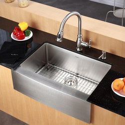 Kraus - 33 in. Farmhouse Single Bowl Stainless Steel Kitchen Sink - Add an elegant touch to your kitchen with unique Kraus kitchen combo