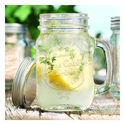 "Home Essentials - Ice Cold Mason Jar Drinking Glasses - Invite friends over for a relaxing afternoon outside on the patio and hand them a charming mason jar filled to the brim with an ice-cold beverage! Crafted of high quality glassware and fashioned into the shape of a mason jar, these ""ice cold"" drinking glasses are an attractive and classic way to host and serve. Enjoy a refreshing glass of lemonade in the hear of summer, or an ice cold Coke year-round! On the beach or at the front porch, our mason jar inspired collection continues the American tradition of casual and stylish entertaining."