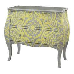 Powell - Powell Yellow and Grey Bombe Box X-133-652 - Perfect for accenting any room, the Yellow and Gray Bombe Chest is a timeless classic with elegant curves and perfect proportions. The dry-brushed grey finish is a beautiful backdrop for the unique hand painted yellow design. Two deep drawers with matching grey knobs provide generous storage, while a smooth, spacious top is ideal for a lamp or displaying decorative items.