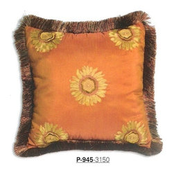 "Canaan - Sunflower Embroidery Pattern Print 20"" x 20"" Throw Pillow with Brush Fringe Trim - Sunflower embroidery pattern print 20"" x 20"" throw pillow with brush fringe trim. Measures 20"" x 20"" made with a blown in foam and also available with feather down inserts at additional costs, search for down insert upgrade to add the up charge to your order. These are custom made in the U.S.A and take 4- 6 weeks lead time for production."