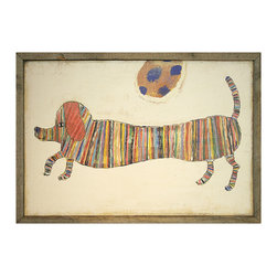 Kathy Kuo Home - Love Dachshunds Hotdog Reclaimed Wood Vintage Wall Art - This little hot dog is showing off its sporty stripes with childlike glee. Each high-quality print comes ready to hang in a frame handmade from reclaimed wood in a distressed brown finish.