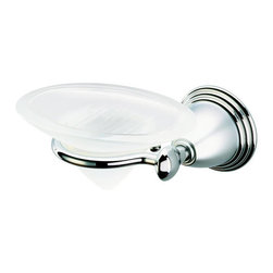 Geesa - Wall Mounted Frosted Glass Soap Dish with Chrome Holder - Glass soap dish.