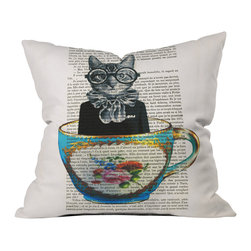 DENY Designs - Coco de Paris Cat In A Cup Throw Pillow, 16x16x4 - Wanna transform a serious room into a fun, inviting space? Looking to complete a room full of solids with a unique print? Need to add a pop of color to your dull, lackluster space? Accomplish all of the above with one simple, yet powerful home accessory we like to call the DENY throw pillow collection!
