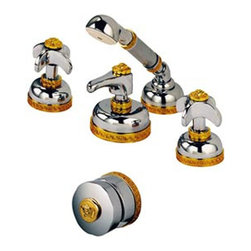 Versace - Versace Classic Chrome Gold 4 Hole Bathtub Faucet Set - Versace 4 Hole Bathtub Faucet Set