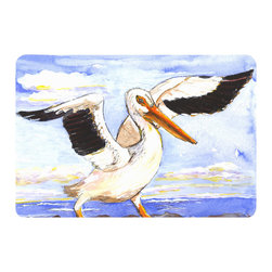 Caroline's Treasures - Bird - Pelican Kitchen or Bath Mat 24 x 36 - Kitchen or Bath Comfort Floor Mat This mat is 24 inch by 36 inch. Comfort Mat / Carpet / Rug that is Made and Printed in the USA. A foam cushion is attached to the bottom of the mat for comfort when standing. The mat has been permanently dyed for moderate traffic. Durable and fade resistant. The back of the mat is rubber backed to keep the mat from slipping on a smooth floor. Use pressure and water from garden hose or power washer to clean the mat. Vacuuming only with the hard wood floor setting, as to not pull up the knap of the felt. Avoid soap or cleaner that produces suds when cleaning. It will be difficult to get the suds out of the mat.