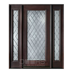 Diamond Collection (Custom Solid Wood Doors) - Custom Front Entry Door - Diamond Collection -  Single with 2 Sidelites - Doors For Builders Inc.
