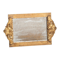 Abigails - Antiqued Mirror Gold Vanity Tray - A special tray in brushed gold leaf with a faux antiqued mirror as its bottom.