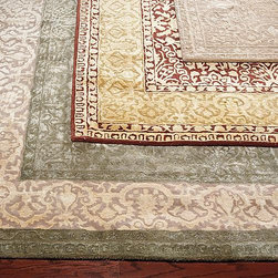 Frontgate - Silk Avenue Wool Area Rugs - 100% pure virgin wool, pile. Hand-hooked to a sturdy cotton backing. Wool rugs are extremely durable. Safavieh rugs are easy to care for. Persian rugs are equally at home in formal or casual settings. Our Silk Avenue Wool Area Rugs, from Safavieh, presents a softened palette of an East-meets-West design combined with a traditional tree-of-life cypress border. The silky appearance of this damask-like pattern is the result of premium-quality wool enhanced with mercerized Belgian cotton.. . . . . Depending on the size, slight variations in the border design may occur in these unique and individually crafted area rugs. Learn more about the origins of Persian rugs.Imported.