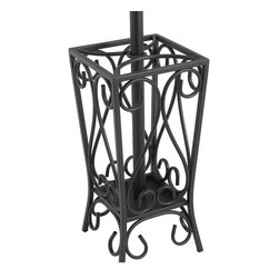 """Holly & Martin - Holly & Martin Brighton Coat Rack and Umbrella Stand X-10-3-410-640-74 - Everyone finds themselves looking for somewhere to lay their coat, bags, etc... Adding a coat rack to your home is the perfect solution and this great scrolled steel stand makes a beautiful and useful solution. The top of the tree incorporates an upper and lower set of hooks to hold both hats and coats easily. The bottom opens up into a spacious umbrella stand with broad four-legged base for maximum stability. This unit measures 69 inches tall by 13 inches in diameter. This ornate coat rack and umbrella stand is sure to make your life easier and provide great storage solutions when entertaining. Some assembly required.    - 13"""" W x 13"""" D x 69"""" H                                                                                 - Painted black finish                                                                                  - 8 decorative scroll hooks and umbrella storage                                                        - Durable metal construction                                                                            - Assembly required"""