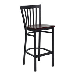 Flash Furniture - HERCULES™ Black School House Back Metal Restaurant Bar Stool - Mahogany Wood Sea - HERCULES™ Black School House Back Metal Restaurant Bar Stool - Mahogany Wood Seat by Flash Furniture