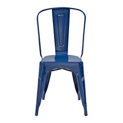 "Crosley - Amelia Metal Café Chairs, Blue, Set of 2 - Dimensions: 17"" W x 20-1/2"" D x 34"" H"