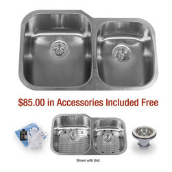 """Miseno - Miseno 32"""" Undermount Double Basin Stainless Steel Kitchen Sink 60/40 Split 16G - Included Free with Your Miseno Sink:"""