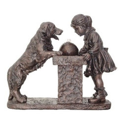 """Lamps Plus - Young Girl and Labrador Dog Antique Bronze Fountain - This charming fountain features a Labrador Retriever dog and a young girl stopping to grab a well-deserved drink of water. Water bubbles up through a highly detailed fountain and settles in a shallow pool. This water feature provides a calming design accent for a variety of locations. Durable and lightweight resin construction in an antique bronze finish will offer years of enjoyment. Resin construction. Antique bronze finish. Pump included. 33 3/4"""" wide. 30 1/4"""" high. 14 1/4"""" deep.  Resin construction.   Antique bronze finish.   Pump included.   33 3/4"""" wide.   30 1/4"""" high.   14 1/4"""" deep."""