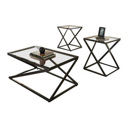 """Steve Silver Company - Steve Silver Company Darius 3 Pack Cocktail and End Tables Set in Black Metal - Steve Silver Company - Coffee Table Sets - DS3000 - Works of art in metal and glass the Darius Collection has a modern zigzag design that is deceptively simple. The Darius 3-pack includes a 43""""x24""""x18"""" cocktail tables and two 20""""x20""""x24"""" end tables. Each piece has a black metal frame with a glass top."""