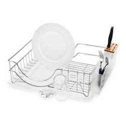 Simplehuman - simplehuman Dish Rack System - Dish rack features a movable stainless steel spout that allows the rack to drain from either side, and a natural bamboo knife block that is gentle on sharp blades.