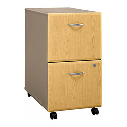 Bush Business - Rolling Two-Tone Cabinet - Series A - Every office, large or small, requires a convenient filing system.  Rolling cabinets that arrive fully assembled are an excellent solution to the changing needs of many businesses.  Two-tone case choices for a uniform look include towers, vertical storage, and laterals.  The Assembled Series A Light Oak 2 Drawer File displays attractive contemporary styling with rounded edges and polished metal hardware.  This well made file rolls smoothly on integral heavy duty casters and fits neatly under most desks for space-saving storage. * Casters allow easy mobility. File fits under desks. Each drawer holds letter, legal and A4-size files. One gang lock secures both drawers. Drawers open on full-extension ball bearing slides. Fully assembled case goods15.512 in. W x 20.276 in. D x 28.150 in. H