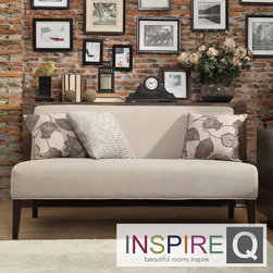Inspire Q - Inspire Q Kayla Grey Fabric Espresso Finish Armless Mini Sofa - The Kayla Armless Mini Sofa is covered in elegant grey upholstery that will brighten up the look of your living room. This contemporary sofa is finished with espresso-colored legs.
