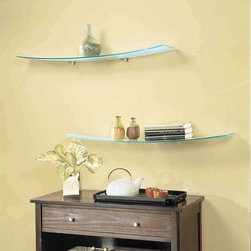 None - Concavo Opaque Glass 8-inch x 40-inch Shelf Kit with Brackets - This bracket shelf kit features a unique curved glass design to add a dynamic look to any room. The shelf measures 40 inches long and 8 inches wide.