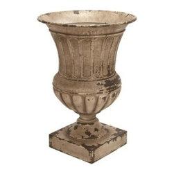 "BZBZ52723 - Metal Planter Vase 26""H, 18""W Patio Accents - Metal Planter Vase 26""H, 18""W Patio Accents."