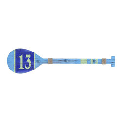 "No. 13 Decorative Paddle With Hanging Knobs - Lend a splash of color to your space with this Decorative Paddle. Knobs have been added to help keep down the clutter. Dimensions:45"" W x 2"" D x 11"" H"