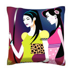 Custom Photo Factory - Women Shopping Pillow.  Polyester Velour Throw Pillow - Women Shopping Pillow. 18 Inches x 18  Inches.  Made in Los Angeles, CA, Set includes: One (1) pillow. Pattern: Full color dye sublimation art print. Cover closure: Concealed zipper. Cover materials: 100-percent polyester velour. Fill materials: Non-allergenic 100-percent polyester. Pillow shape: Square. Dimensions: 18.45 inches wide x 18.45 inches long. Care instructions: Machine washable