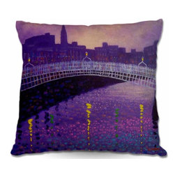 DiaNoche Designs - Pillow Woven Poplin from DiaNoche Designs - Purple Mist Ha Penny Bridge - Toss this decorative pillow on any bed, sofa or chair, and add personality to your chic and stylish decor. Lay your head against your new art and relax! Made of woven Poly-Poplin.  Includes a cushy supportive pillow insert, zipped inside. Dye Sublimation printing adheres the ink to the material for long life and durability. Double Sided Print, Machine Washable, Product may vary slightly from image.