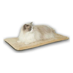 K & H - Thermo Kitty Mat 12.5in.X25in. Sage - The KandH Thermo-Kitty Mat (Sage) is an affordable heated sleeping mat with a dual thermostat heater buried beneath soft foam to make a comfortable napping place for cats.
