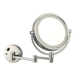 Nameek's - Double Face LED Lighted 3x Mirror, Satin Nickel - This makeup mirror mounts to your bathroom wall.