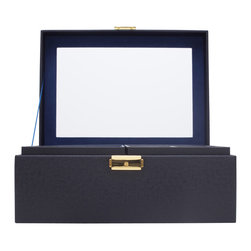 WOLF - Brighton Jewelry Box Medium, Black - Add a pop of color with the Brighton collection. Each case features a rich, saffiano leather exterior in orange, cream, or black and a contrasting plush interior.  The medium jewelry box contains a vanity mirror behind the lid and two pull out trays with open compartments and a ring roll.