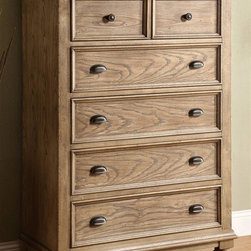 Riverside Furniture - Coventry Chest w 5 Drawers - Dovetail drawer construction. Ball bearing extension guides. Cedar veneer bottom drawer. Felt-lined top drawers. Tip restraining hardware. Base levelers. Bun feet. CPSC HR-4040 certified. Made from hardwood solid, ash and oak veneer. Weathered driftwood finish. Made in Vietnam. 40 in. W x 19 in. D x 56.25 in. H (201 lbs.). Assembly Instructions