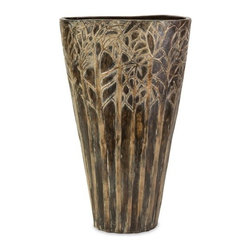 """IMAX - Large Amaris Vase - Earthy and imbued with mystery, you can almost imagine a wood nymph or elf peeking out from the forest of trees encircling this ceramic vase. For a coordinated look purchase both sizes. Item Dimensions: (16.5""""h x 10""""w x 4.5"""")"""