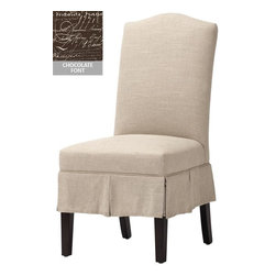 Home Decorators Collection - Custom Christian Parsons Chair - Our Custom Christian Parsons Chair features a gently arched back and a tidy pleated skirt. Available in a number of fabrics, this classic piece will bring an elegant, finished feel to your dining room. Even better, this custom fabric dining chair is as comfortable as it is stylish. Wood legs in cappuccino finish. Assembled to order in the USA and shipped in approximately 8-10 weeks.