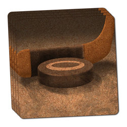 "Made on Terra - Hockey Puck and Stick Thin Cork Coaster Set of 4 - You're just cleaning up after your epic party when you realize it... something's different. Unlike all those other times, you're not mopping up cup condensation from your counters and tables. This time, everyone used a coaster. Everyone. Maybe it's because you handed out a coaster with every glass. No. You've tried that before. No, this time it's because of the actual coasters. You found the cutest Made On Terra printed cork coasters. You love that everyone commented on how unique they were,  from the light-weight, thin cork material to the printing that creates a cool and subtle effect. Plus, they're really absorbent, but dry quickly. And they're made from an eco-friendly, sustainable resource, so that makes you feel pretty great, too. Choose from Made on Terra's many fabulous cork coasters. Measures 4"" x 4"" x 1/8"". Made of thin cork. Super cute and nicely absorbent. Sold in sets of four."