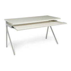 Blu Dot - Blu Dot Desk 51, Ivory/Grey - An uncluttered surface. A keyboard tray. What else do you need to finish the great American novel or even the Mother of All Spreadsheets? How about some dramatic legs and color schemes like ivory/grey, humble red, slate or white? So get to it, Hemingway.