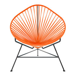 Baby Acapulco Chair, Orange Weave On Black Frame