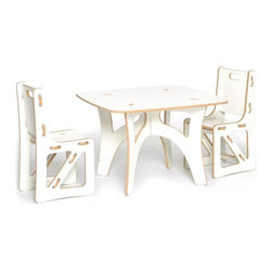 Sprout - Sprout Childrens Table and 2 Chairs Set - KT2C001-WHT - Shop for Childrens Table and Chair Sets from Hayneedle.com! The Sprout Childrens Table and Chairs Set - White is scaled just right for the kids and parents love it for its ease of ownership. Use it like a folding table - break it down when you don't need it and set it up again in just seconds when you do. It's so easy to assemble even the kids can do it! The seat back and brace of the chairs can be swapped with other chairs rockers or cubbies to change the style color or even the function of the chair. Made of CARB compliant MDF - a sustainable pre-consumer recycled wood product - the Sprout Childrens Table and Chair Set is eco friendly furniture you and your children will love. Weight Limit: 150 lbs.About Sprout Kids FurnitureDesigned to be more than just furniture Sprout children's furniture prefers to be known as a medium of creativity a medium of discovery. Sprout designs furniture that's easy to assemble and goes together in minutes without tools or hardware. Interchangeable modular components let you simply snap parts together and even rearrange. A patent pending joint system is built right into the parts. Individual parts can be swapped to change up the style or even the function of your furniture. Even moving is easy! This furniture is collapsible so you can build it when you need it and store it when you don't. You could fit an entire playroom in the back of your car. This furniture is simple to use and simple to manufacture. With the environment as a priority parts are optimized to reduce waste when cut and they pack flat reducing shipping costs. All Sprout products are made from pre consumer recycled wood and made in the U.S.A.