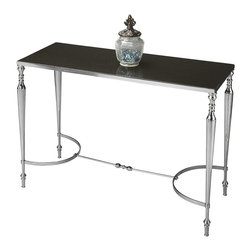 Butler Specialty Furniture - Modern Expressions Console/Sofa Table - This exquisite console table featuring perfectly proportioned legs tapering into ballerina feet, symmetrically bowed stretcher and granite top is destined to be a bright spot in any space. Hand-crafted from aluminum, iron and granite in a lustrous Nickel finish. Only listed product included.